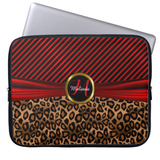 Monogram Design | Red and Gold Leopard Skin Laptop Sleeve