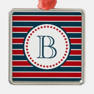 Monogram design Silver-Colored square decoration