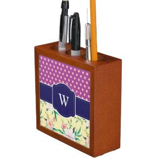 Monogram Desk Organizer, Purple Desk Organiser