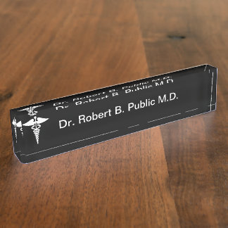 Monogram Doctor Desk Name Plate