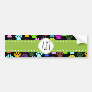 Monogram - Dog Paws, Paw-prints - Red Blue Green Bumper Sticker