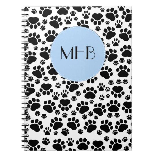 Monogram - Dog Paws, Traces, Paw-prints - Black Notebooks
