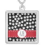 Monogram - Dog Paws, Trails - White Black Red Pendant