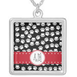 Monogram - Dog Paws, Trails - White Black Red Square Pendant Necklace