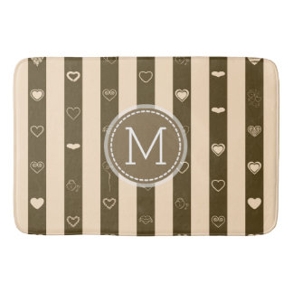 Monogram Donkey Brown Stripes Modern Heart Pattern Bath Mat