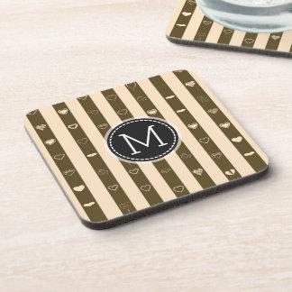 Monogram Donkey Brown Stripes Modern Heart Pattern Coaster