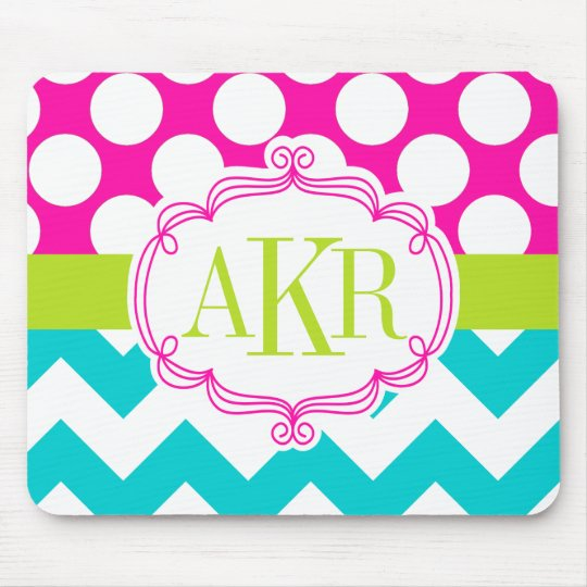 Monogram Dots and Chevron Personalised Mouse Mat