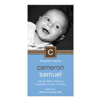 Monogram Dots Baby Birth Announcement (Blue) Personalized Photo Card