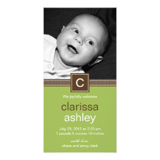 Monogram Dots Baby Birth Announcement (Lime) Personalized Photo Card