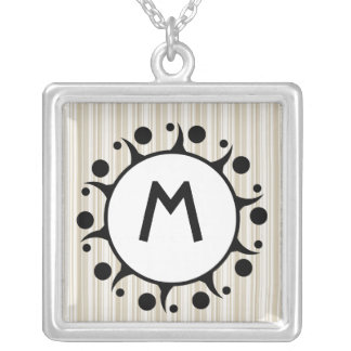 Monogram Dots on Taupe Stripes Custom Necklace
