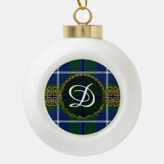 Monogram Douglas Tartan Ceramic Ball Christmas Ornament