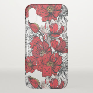 Monogram. Dramatic Red and White Floral Pattern. iPhone X Case