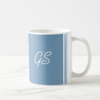 Monogram Dusk Blue Trio Stripes with White Basic White Mug