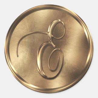 Monogram E Bronze Round Sticker
