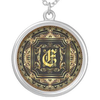 Monogram E Customize Edit Change Background Color Round Pendant Necklace