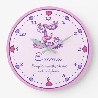 Monogram E Emma hearts name meaning clock