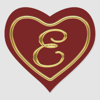 Monogram E in 3D gold Heart Sticker