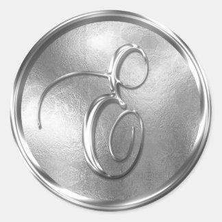 Monogram E NONMETALLIC Silver Envelope Seal Round Sticker