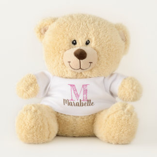 Monogram Edit Pink for Custom Initial and Name Teddy Bear