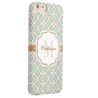 Monogram Eggshell Blue and Gold Quatrefoil Barely There iPhone 6 Plus Case