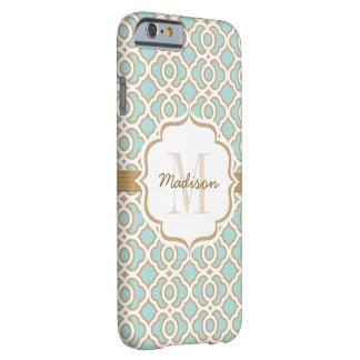Monogram Eggshell Blue and Gold Quatrefoil Barely There iPhone 6 Case