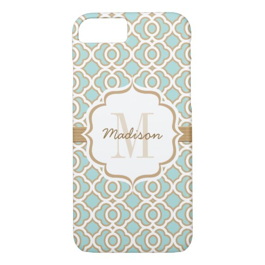 Monogram Eggshell Blue and Gold Quatrefoil iPhone 7