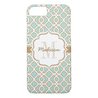 Monogram Eggshell Blue and Gold Quatrefoil iPhone 8/7 Case