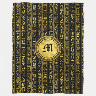Monogram Egyptian Ancient Gold hieroglyphs Fleece Blanket