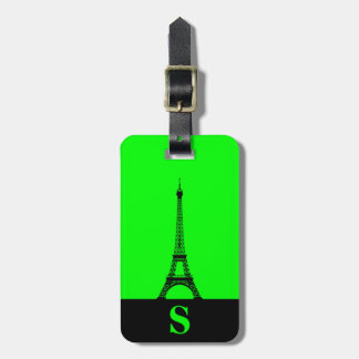 Monogram Eiffel Tower with Stripe on Lime Green Luggage Tag