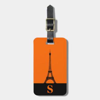 Monogram Eiffel Tower with Stripe on Orange Luggage Tag