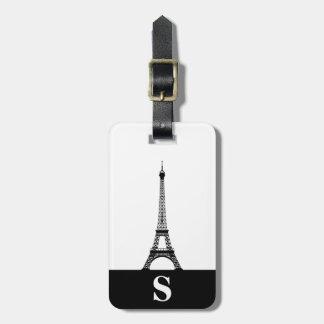 Monogram Eiffel Tower with Stripe on White Luggage Tag
