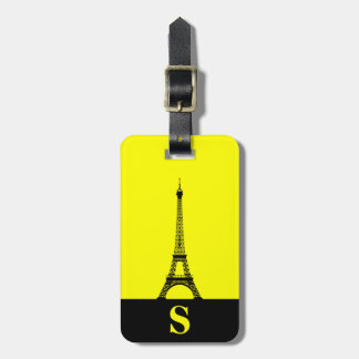 Monogram Eiffel Tower with Stripe on Yellow Luggage Tag