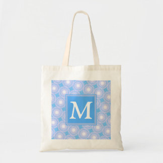 Monogram Electric blue circles pattern Tote Bag