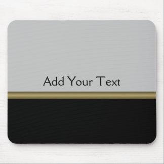 Monogram Elegance in Black Grey Gold Mouse Pads