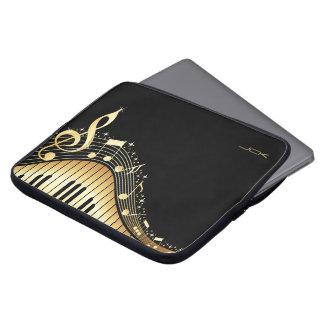 Monogram Elegant Black And Gold Music Notes Design Computer Sleeves