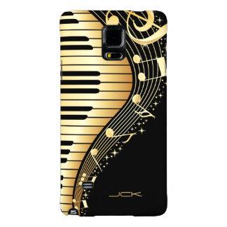 Monogram Elegant Black And Gold Music Notes Design Galaxy Note 4 Case
