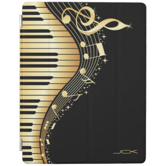 Monogram Elegant Black And Gold Music Notes Design iPad Cover