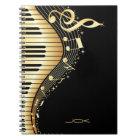 Monogram Elegant Black And Gold Music Notes Design Notebook