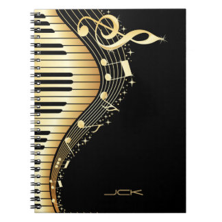 Monogram Elegant Black And Gold Music Notes Design Spiral Notebook
