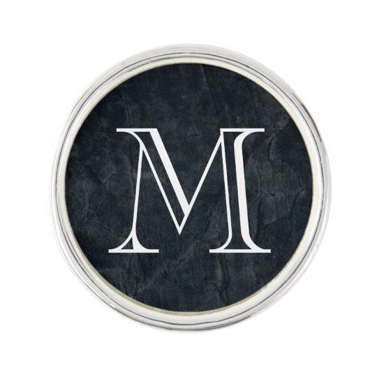 Monogram Elegant Black Stone Texture Lapel Pin