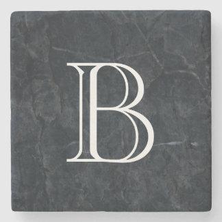 Monogram Elegant Black Stone Texture Stone Coaster
