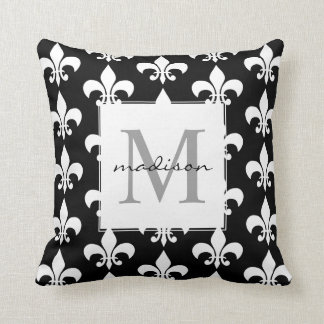Monogram Elegant Black White Fleur de lis Pattern Cushion