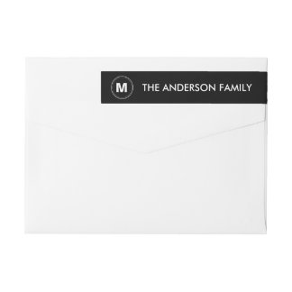 Monogram Elegant Black White Wrap Around Label