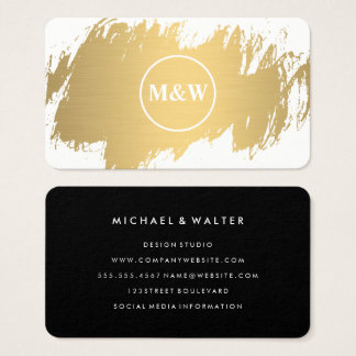 Monogram Elegant Faux Gold Grunge Business Card