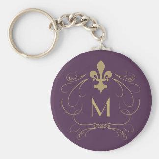 Monogram Elegant Fleur de Lis Purple Gold Key Ring