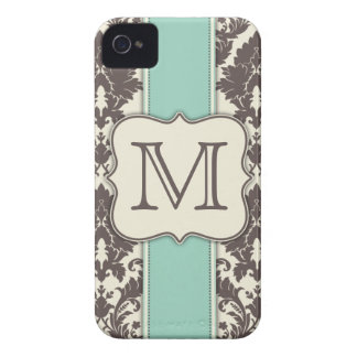 Monogram Elegant Floral Damask Art Deco Letter iPhone 4 Case