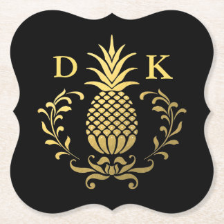 Monogram | Elegant Gold Pineapple Paper Coaster