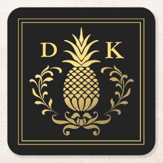 Monogram | Elegant Gold Pineapple Square Paper Coaster