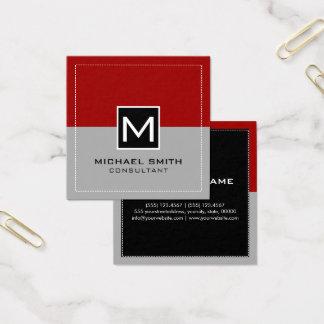 Monogram Elegant Modern Gray Crimson Red Square Business Card