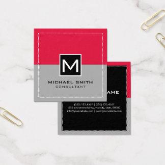 Monogram Elegant Modern Gray Crimson Square Business Card